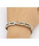 MEXICO 925 Sterling Silver - Vintage Etched Hinge Link Chain Bracelet - ... - $149.79