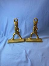 Vintage Set Of 2 Solid Brass Colonial Soldier Minutemen Doorstop Bookends - $49.99