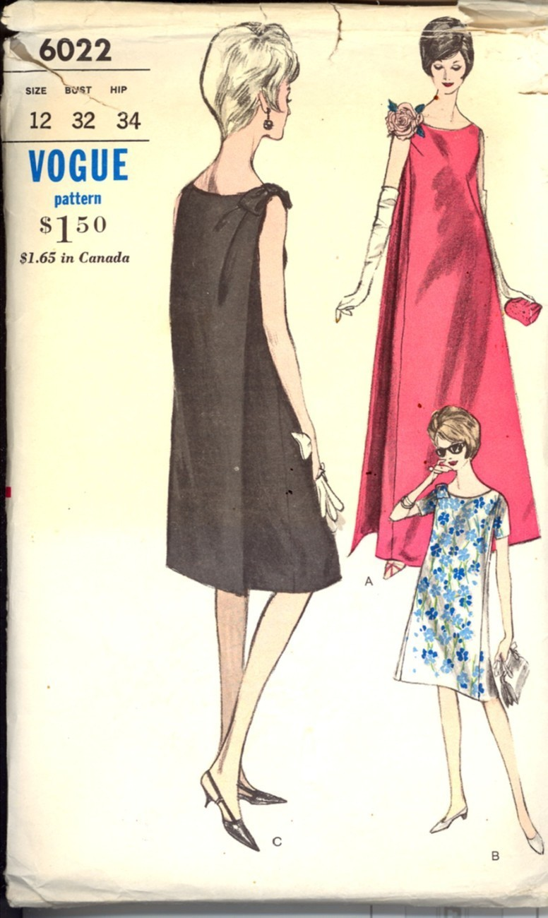 Primary image for 1960s Size 12 Bust 32 Back Wrap Maternity Evening Gown Vogue 6022 Pattern Dress