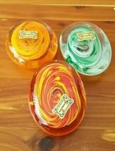 Lot of 3 Egermann Art Glass Paperweight Orange,... - $45.15