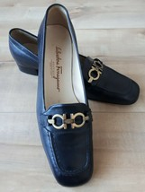Salvatore Ferragamo Womens Shoes Loafers Italy Black Leather Signature S... - $29.75