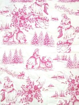 Red Santa Butter Yellow Toile Quilted Mat/ Cover/ Topper/ Accent NEW Han... - $65.33