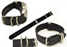 22mm watch band Fits LUMINOX Watches BLACK Nylon  4 Rings S/S Buckle Strap - $15.95