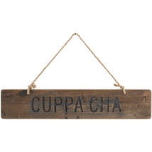 Cuppa Cha Rustic Wooden Message Plaque - $40.00