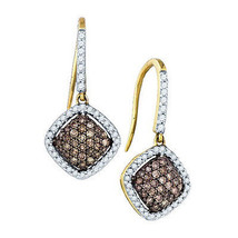 10k Yellow Gold Champagne Brown Diamond 0.64CT Hook Earrings - $471.77