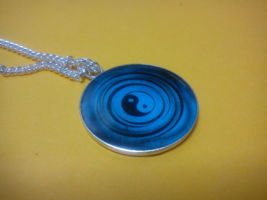 Blue Yin Yang Necklace pendant charm ancient Chinese Tai-Chi energy medi... - $39.99