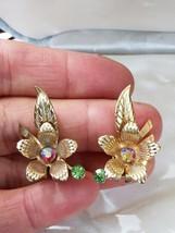 Vintage 1960's Gold Tone & Rhinestone Flower & Leaf Clip On Ear Climber ... - $14.50