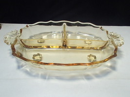Fostoria Baroque Topaz 3 Part Relish~~2496~~Gold Tint - $24.99