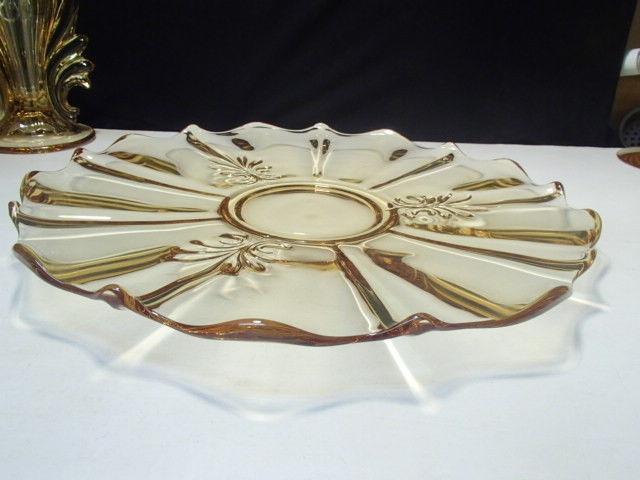"Fostoria Baroque Topaz 14"" Torte Plate~~2496~~Gold Tint - $29.99"