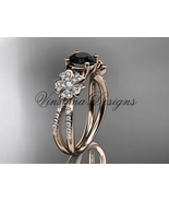 14kt rose gold diamond, Sakura engagement ring Black Diamond VD8214 - $2,650.00
