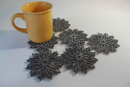 Grey and Mix Colour Coaster Flames Aster Flower  Set of 6 Pieces Laser Cut - $9.04