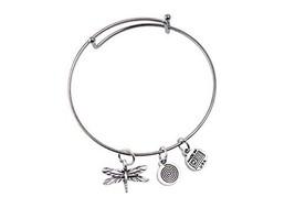 Small Dragonfly Silver Bangle Bracelet