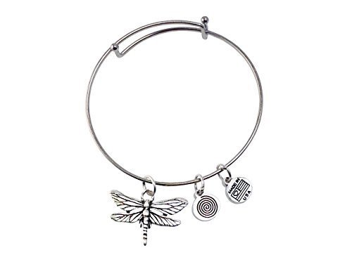Large Dragonfly Silver Bangle Bracelet