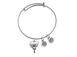 Fairy Heart Silver Bangle Bracelet