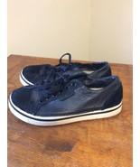 CROCS Sneakers Black Pebble Leather Lace Up Size 6 Women's 4 Mens EUC!! - $24.95