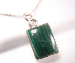 Small Malachite Simple Rectangle 925 Sterling Silver Necklace New 749g - $17.48