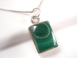 Small Malachite Simple Rectangle 925 Sterling Silver Pendant New 749a - $8.28