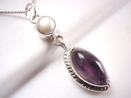 Pearl and Amethyst Pendant 925 Sterling Silver Rope Style Accented Perim... - $13.85