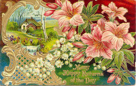 Many Happy Returns of The Day1911 Vintage Post Card - $3.00