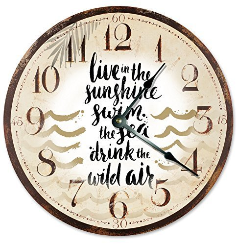 "Primary image for Sugar Vine Art Beach Clock Wall Clock Home Decor Wall Clock Large 10.5"" Novelty"