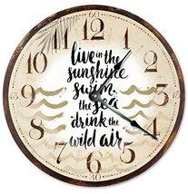 Sugar Vine Art The Sunshine Swim Silent Non Ticking Round Battery Operated Handm - $24.29