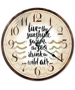 "Sugar Vine Art Beach Clock Wall Clock Home Decor Wall Clock Large 10.5"" Novelty  - £16.44 GBP"