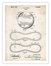 BASEBALL DESIGN INVENTION POSTER 1928 PATENT PRINT 18X24 VINTAGE REPRO M... - $24.95