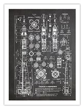 SOVIET ROCKET PLANS POSTER PRINT BLACKBOARD 18X24 USSR ENERGIA N1 H1 R-7... - $24.95