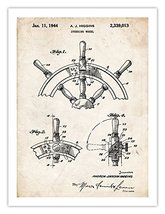 SHIP STEERING WHEEL INVENTION POSTER 1944 US PATENT ART RETRO PRINT 18X2... - $24.97