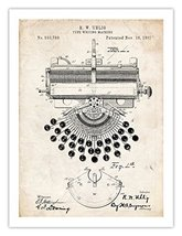 Typewriter Type Writer Uhlig 1897 Us Patent Print Vintage Antique 18 X24 Poste... - $24.97