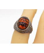 JUDITH JACK 925 Silver - Vintage Striped Amber Cocktail Ring Sz 5.5 - R1... - $49.37