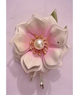Vintage 3D Pink & White Rose Flower Pin Brooch Unsigned - $22.72