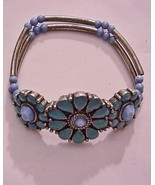 Beautiful Vintage Floral Turquoise Navajo Brace... - $15.79