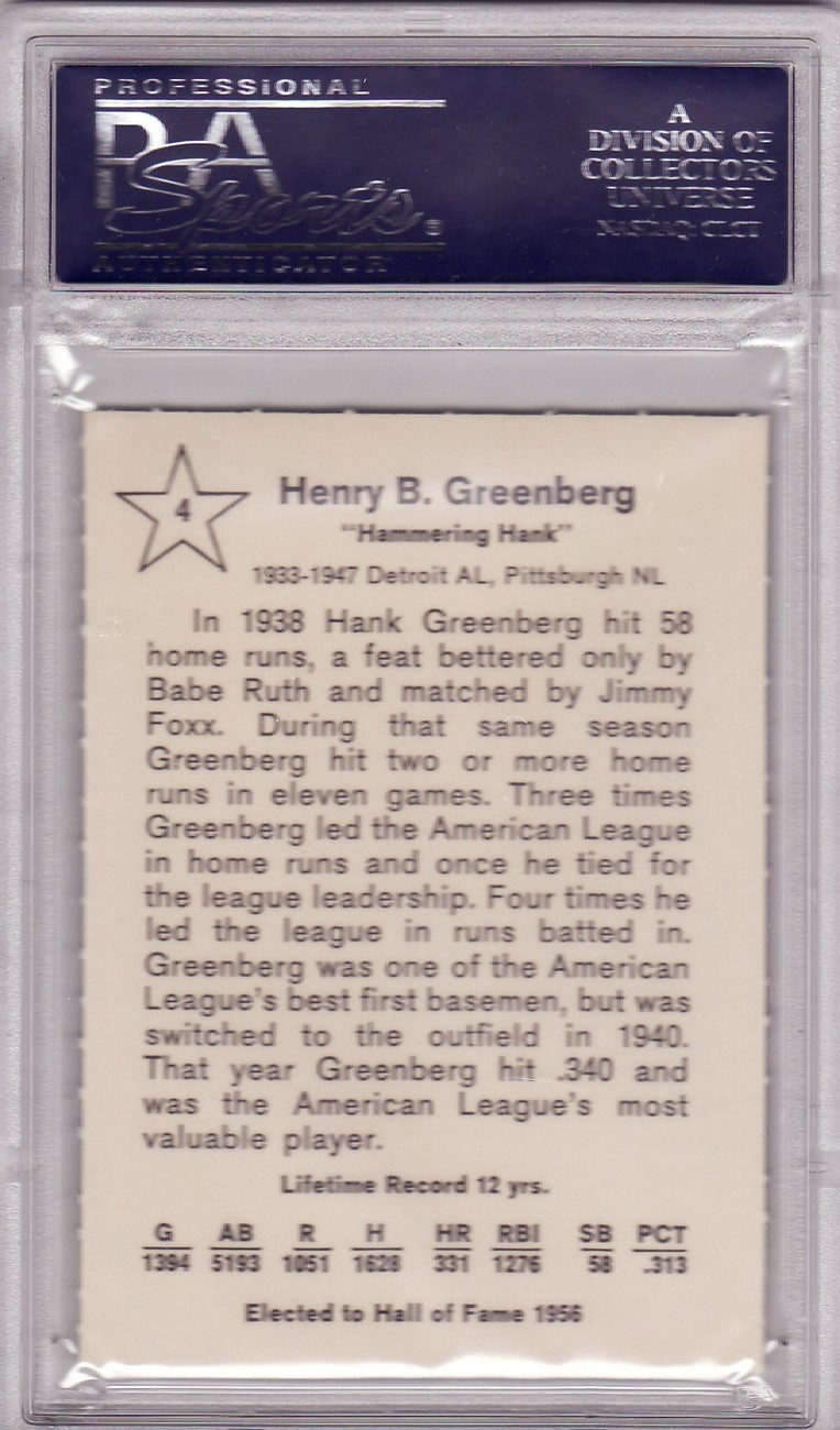 Hank Greenberg 1961 Golden Press #4 Graded PSA 9 MINT