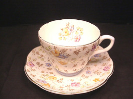 Foley Tea Cup Bone China Chintz Saucer Blue Accent Gold Trim - $13.37
