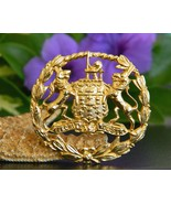Vintage Coat of Arms Brooch Pin Lion Wolf Crest... - $29.95