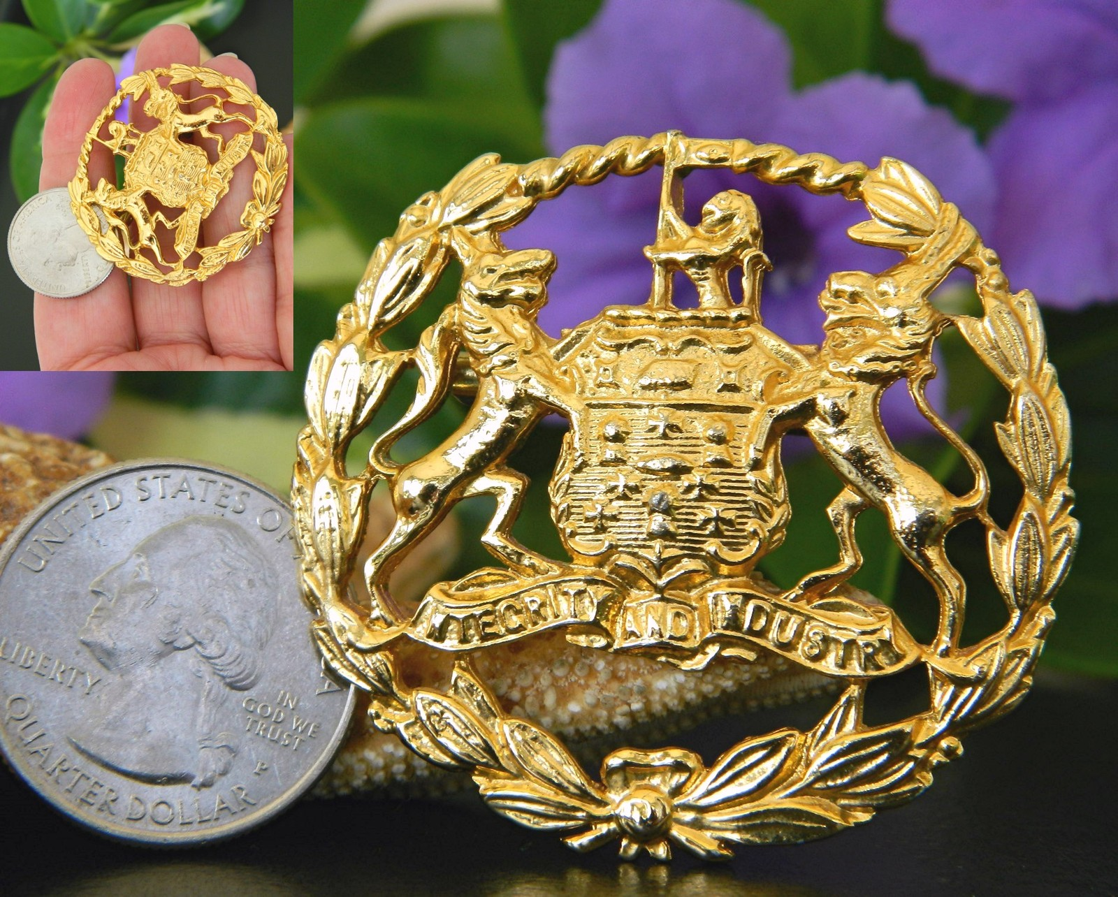 Vintage Coat of Arms Brooch Pin Lion Wolf Crest Integrity Industry image 2
