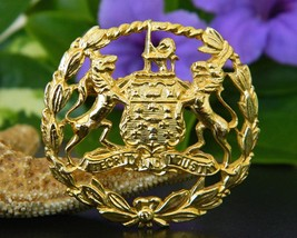 Vintage Coat of Arms Brooch Pin Lion Wolf Crest Integrity Industry image 5