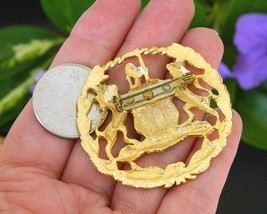 Vintage Coat of Arms Brooch Pin Lion Wolf Crest Integrity Industry image 4