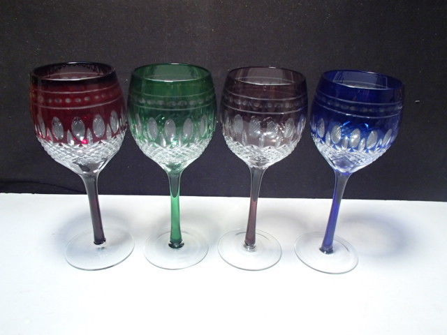4 Cut to Clear Colored Wine Stems in the Clarendon Pattern ~~ A