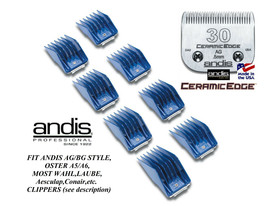 ANDIS 8pc GUIDE ATTACHMENT COMB&CeramicEdge 30 BLADE Fit Many Oster,Wahl... - $61.94