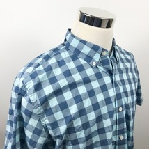 J Crew Mens XL Regular Fit Short Sleeve Oxford Blue Checker Cotton Casual  - $17.95