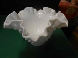 "Great Vintage FENTON Milk Glass Hobnail Ruffled Edge BOWL  4.25"" - $18.40"