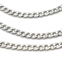 18K WHITE GOLD GOURMETTE CUBAN CURB CHAIN 2 MM, 17.7 inches, NECKLACE image 2