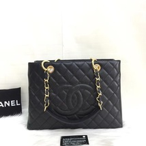 NEW AUTH CHANEL QUILTED CAVIAR GST GRAND SHOPPING TOTE BAG GOLD HW