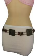 New Women Tie Belt Hip Waist Brown Beads Antique Gold Metal Plate Fashio... - $14.69