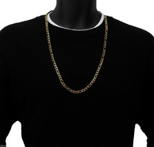 14k Gold Plated 6mm Italian Stainless Steel Figaro Link Chain Necklace 3... - $13.85