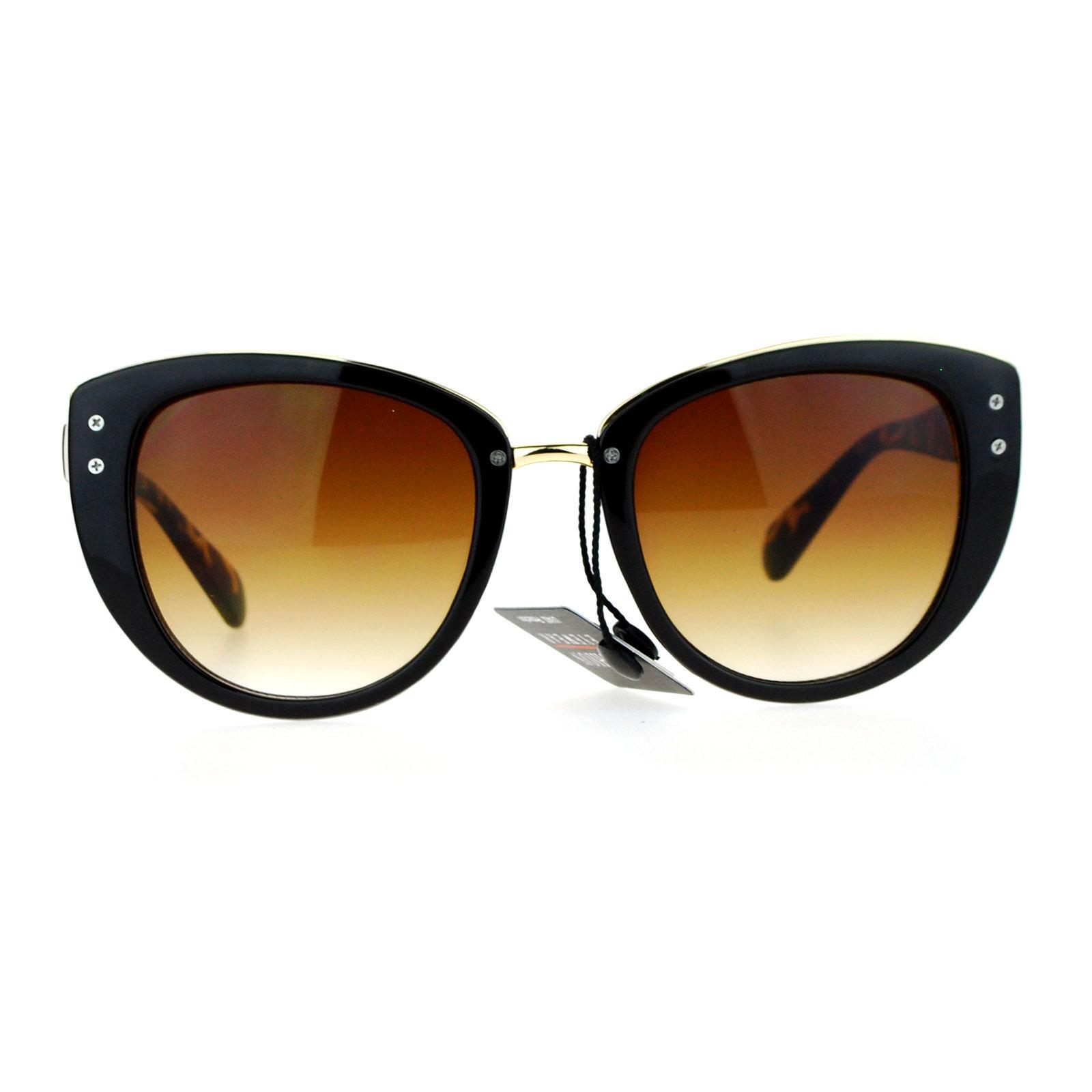 SA106 Metal Brow Oversize Cat Eye Designer Sunglasses