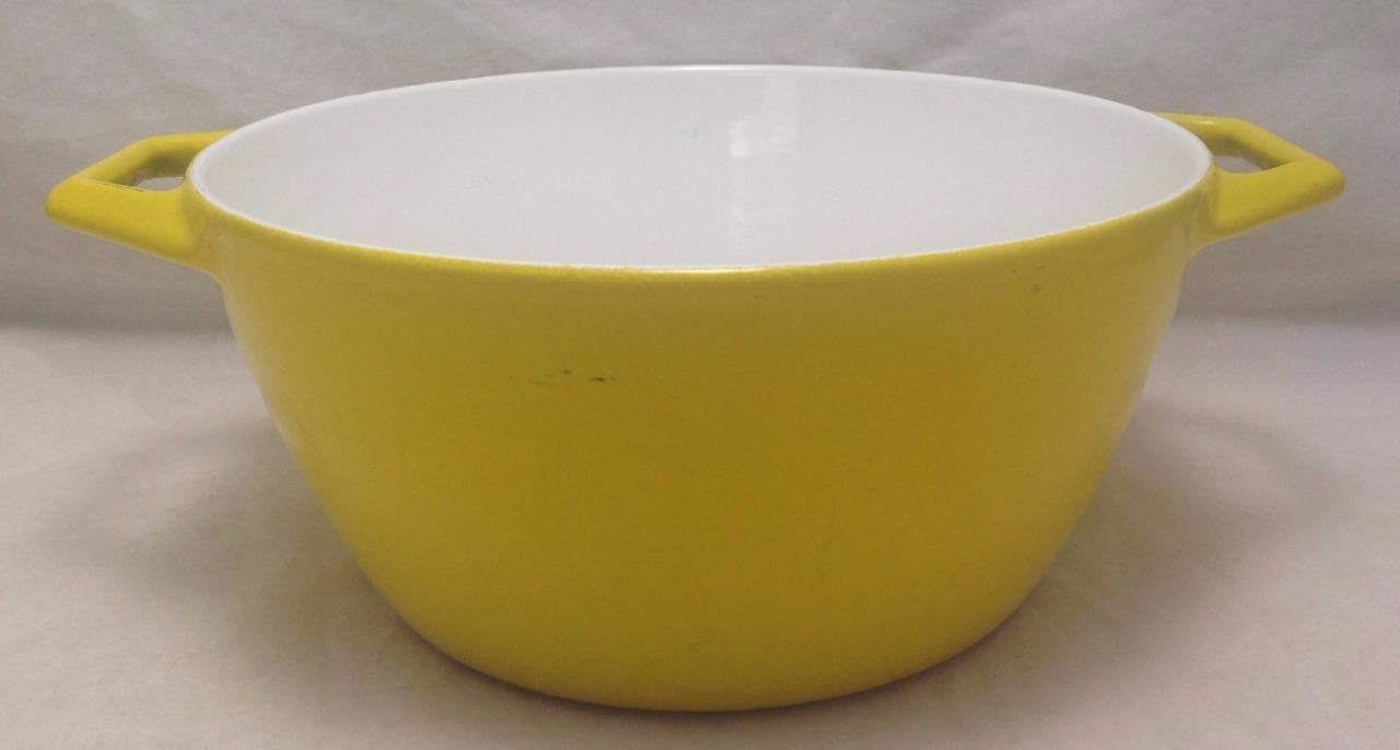 Vintage Copco D2 Cast Iron Dutch Oven Yellow Enameled Denmark Pot w/o Lid