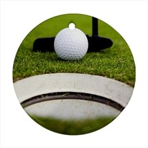 Golf Putting Round Porcelain Ornament - Holiday Seasons - $7.71